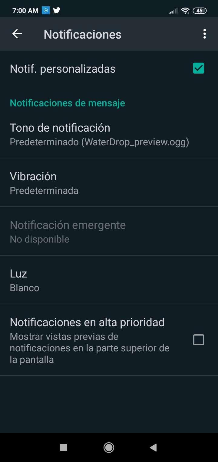 Personalizar notificaciones en WhatsApp