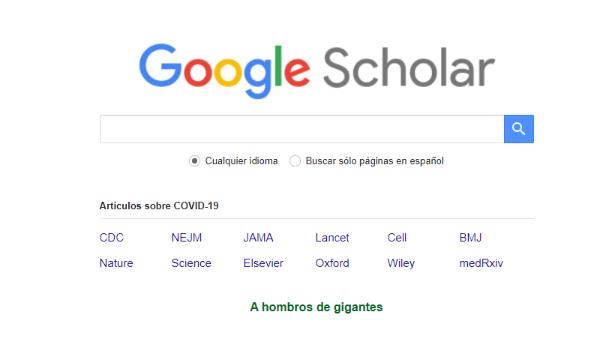 Google Scholar para buscar documentos de estudio