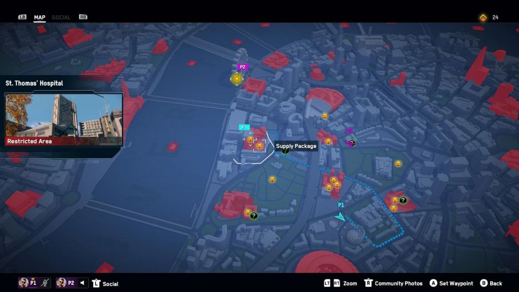 Mapa de Watch Dogs: Legion of the Dead.